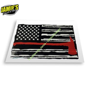 Fire Fighter Flag - Decal - Four Sizes - Jamies Decals