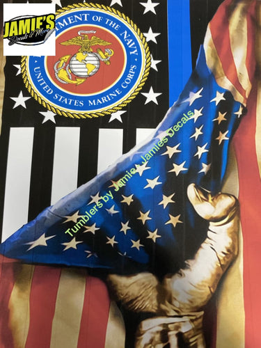 Flag / Hand Tumbler - Marine Corps - Skinny 20 -Made to Order - Personalized just for you 20 skinny tumbler