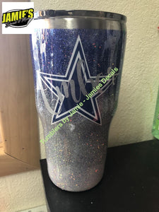 Glitter Cowboys inspired Tumbler with Name - Glitter Tumbler - Bling Tumbler -Made to Order - Personalized Decal Tumbler - Jamies Decals