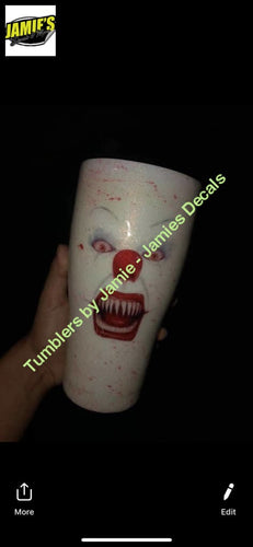Glow in the Dark IT Pennywise Glitter Tumbler - Glitter Tumbler - Bling Tumbler -Made to Order - Jamies Decals