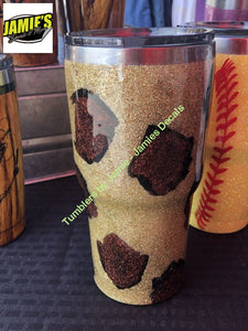Gold Leopard Print Tumbler - Bling Tumbler -Made to Order - Personalized Decal Tumbler - Jamies Decals