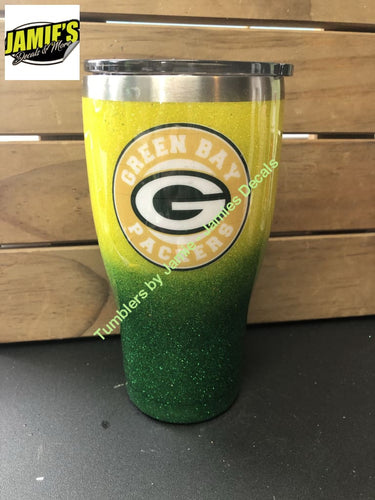 Green Bay inspired Tumbler  - Glitter Tumbler -Made to Order - Jamies Decals