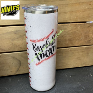 Half and Half Softball / baseball Mom Skinny Tumbler - Made to Order Tumbler