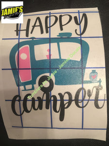 Happy Camper Decal - Four Sizes - Jamies Decals