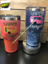 Happy Camper Glitter Tumbler - Bling Tumbler -Made to Order - Jamies Decals