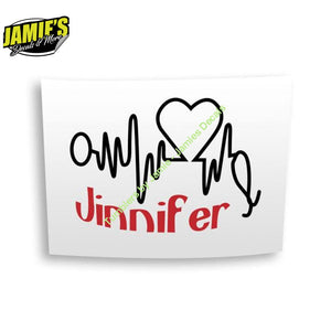 Heartbeat with Name Decal - Four Sizes - Color Options - Jamies Decals