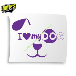 I Love My Dog Decal - Four Sizes - Color Options - Jamies Decals
