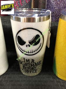 I'm a nightmare before coffee Glitter tumbler -Tumbler - Made to Order - Personalized Decal Tumbler - Jamies Decals