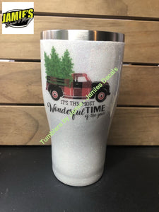 Its the Most Wonderful time of the Year - Bufflo Plain Red Truck = Glitter Tumbler - Glitter Tumbler -Made to Order Glitter Tumblers