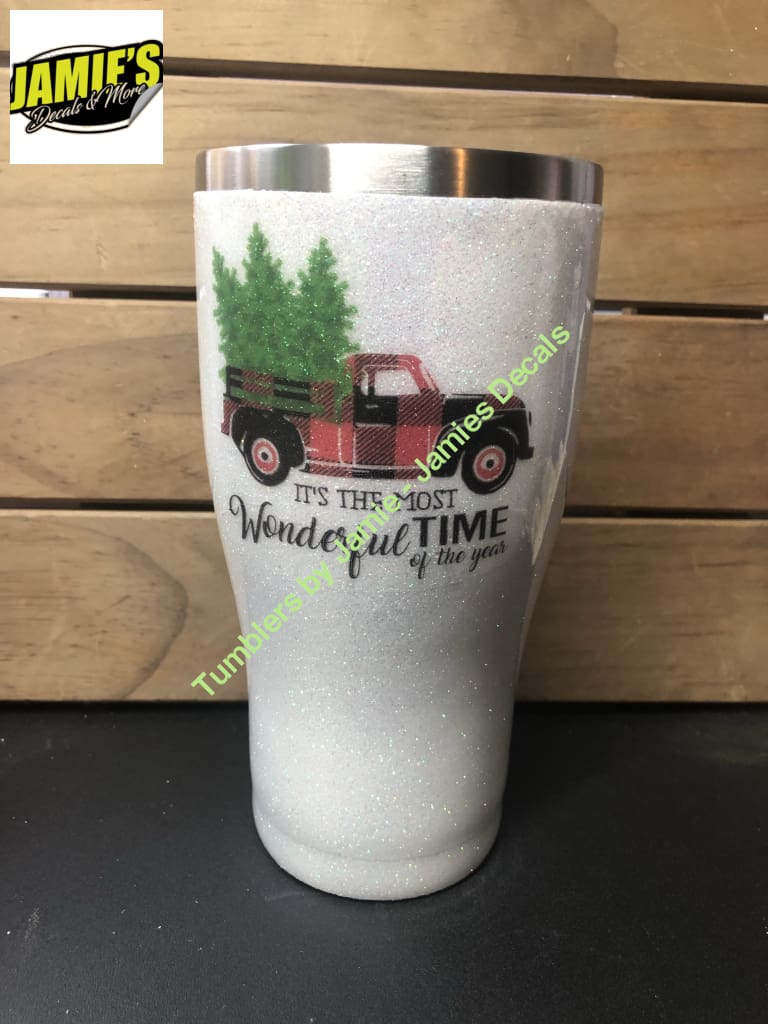 Its the Most Wonderful time of the Year - Bufflo Plain Red Truck = Glitter Tumbler - Glitter Tumbler -Made to Order - Jamies Decals
