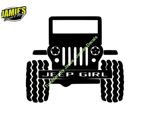 Jeep Girl Grill - Jeep Decal - Color Options - Size Options - Magents - Jamies Decals