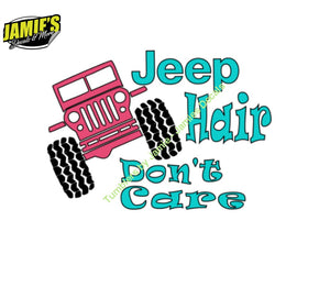 Jeep Hair Dont Care Decal - Size Options - Color Options - Jeep - Decal - Magent - Jamies Decals
