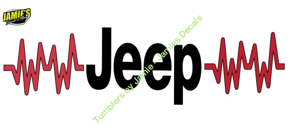 Jeep Heartbeat - Jeep Decal - Color Options - Size Options - Magents - Jamies Decals