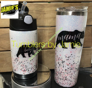 Mama and Baby Glitter Tumbler Set - Glitter Tumbler - Bling Tumbler -Made to Order - Jamies Decals