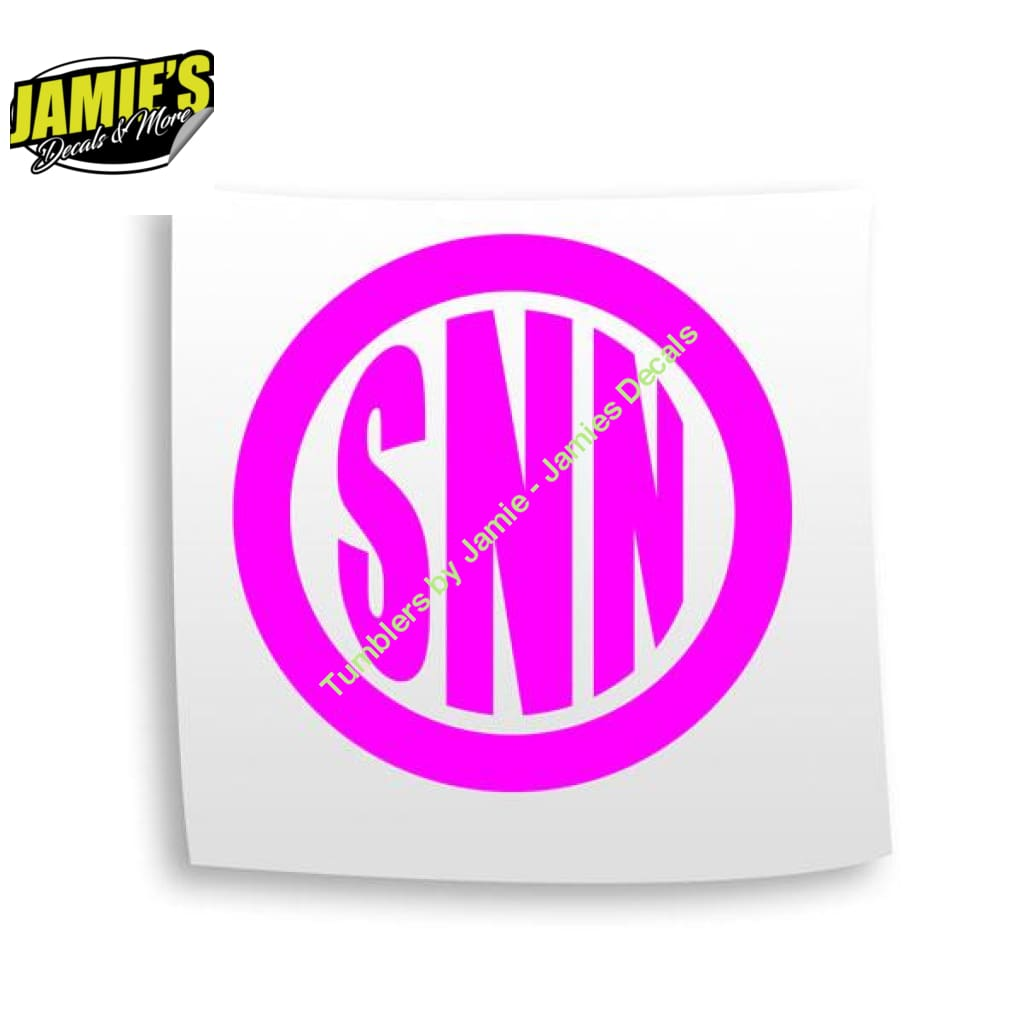 Monagram Circle - Decal - Four Sizes - Color Options - Jamies Decals