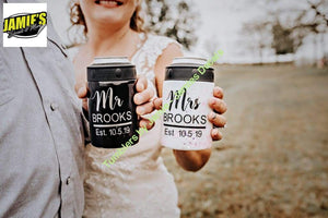 Mr and Mrs Can Coolers - Two Can Coolers - made to order - Jamies Decals