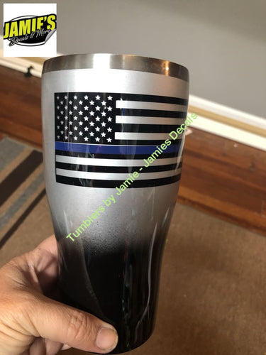Police Support Tumbler- blue Line flag Tumbler -Made to Order - Personalized Decal Tumbler - Jamies Decals