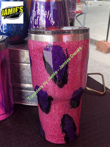 Purple / Pink Leopard Print Tumbler - Bling Tumbler -Made to Order - Personalized Decal Tumbler - Jamies Decals