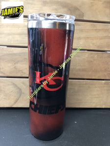 Red and Black Kansas City Chiefs Inspired Tumbler Tumbler