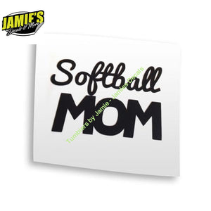 Softball MOM - Decal - Decal - Four Sizes - Color Options - Jamies Decals