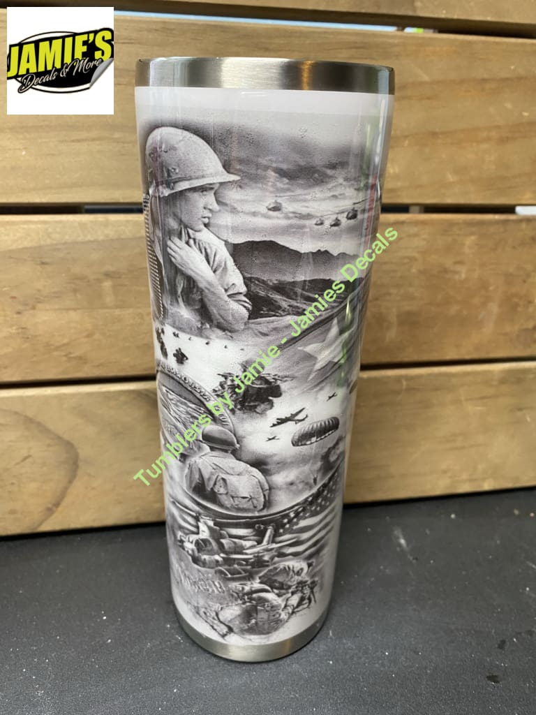 Solider Smoke full wrap skinny tumbler - Made to Order - 20 Skinny tumblers