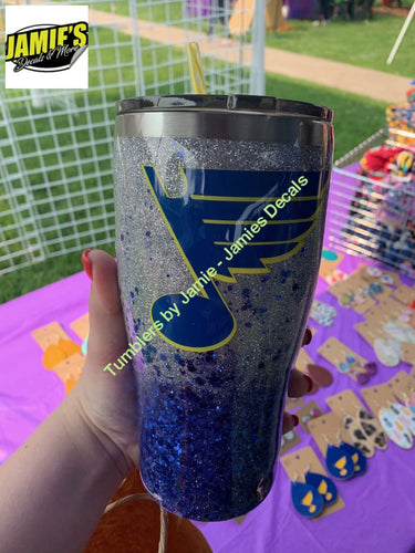 St. Louis Blues inspired - Glitter Tumbler -Made to Order - Jamies Decals