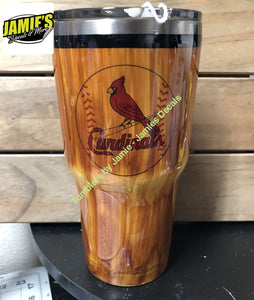 St. Louis Cardinals Baseball Woodgrain Tumbler - Wood Grain Tumblers - Jamies Decals