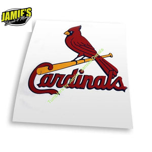 STL - St. Louis Cardinal Bird Bat Decal - JD version - Jamies Decals