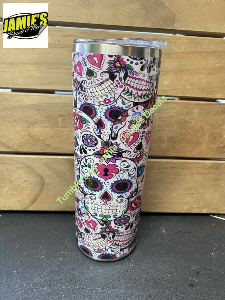 Sugar Skulls Tumbler - Skinny 20 -Made to Order - Personalized just for you 20 skinny tumbler
