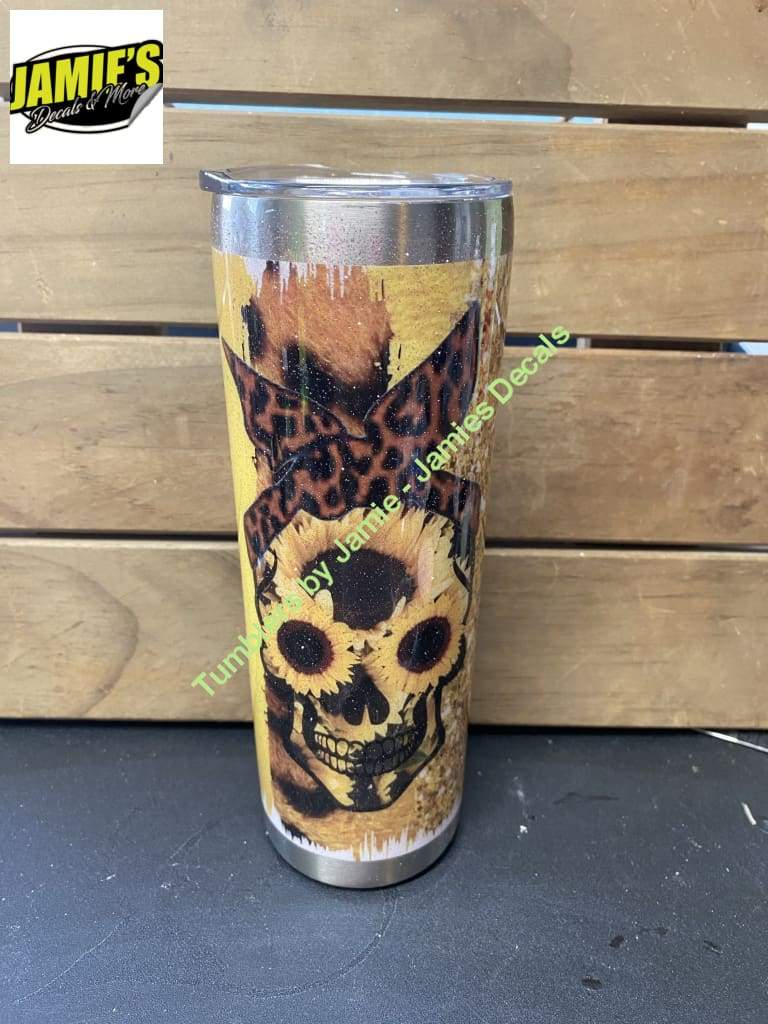 Sunflower skull 20 Skinny Tumbler - Ready to Ship or Pick Up Ready to Ship