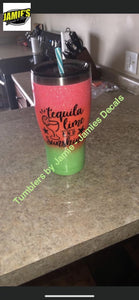 Tequila lime and Sunshine Tumbler  - Glitter Tumbler -Made to Order - Jamies Decals