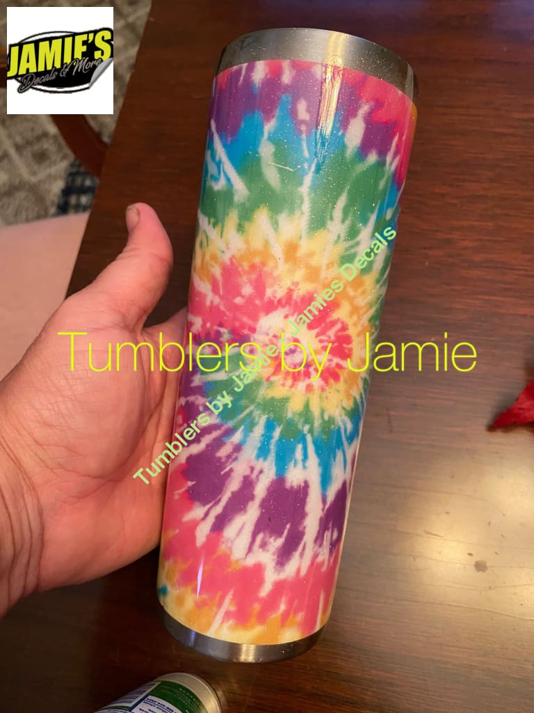 Tie dye 20 skinny Tumbler -Made to Order - Personalized just for you Tye Die Glitter Tumblers