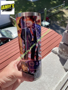 Trump Tank Flag 2020 Tumbler - Skinny 20 -Made to Order - Personalized just for you 20 skinny tumbler