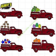 Vintage Truck Decal with design - Hearts, Footballs, Shamrocks, Easter Eggs, Stars, Pumpkins - Jamies Decals