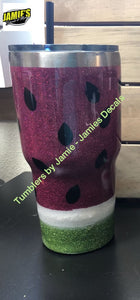 Watermelon Glitter Tumbler - Bling Tumbler -Made to Order - Jamies Decals