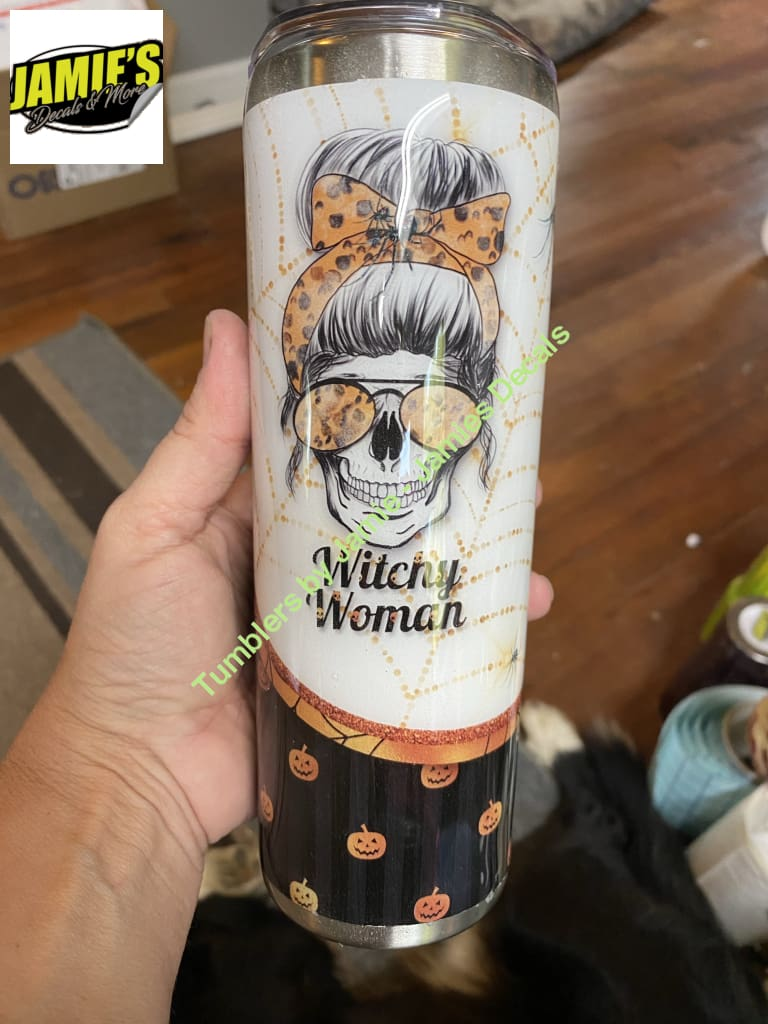 Witchy Woman - Bun Women - Pumpkin - 20 skinny Tumbler -Made to Order - Personalized just for you 20 skinny tumbler