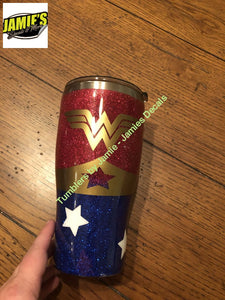 Wonder Woman inspired Glitter Tumbler - Made to Order - Jamies Decals
