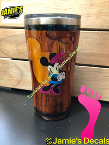 Wood Grain Tumblers - Mickey Mouse - Minnie Mouse - Jamies Decals