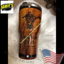 Woodgrain Capt. Morgan inspired Tumbler - Tumbler -Made to Order - Personalized Decal Tumbler - Jamies Decals