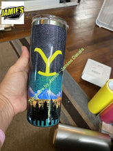 Yellowstone mountain design tumbler - Glitter Tumbler -Made to Order - You look like you need a ride to the train station Glitter Tumblers