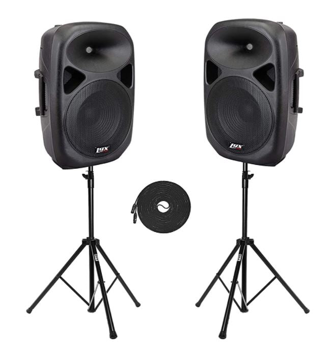 Dual PA Speakers with Stands and Microphone