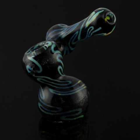 "7"" Inside Out Black Frit and Green Slyme Side Car Bubbler"
