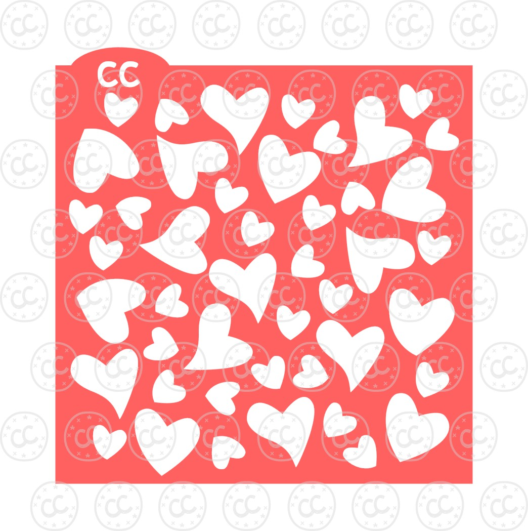 Hearts Background Cookie Stencil File