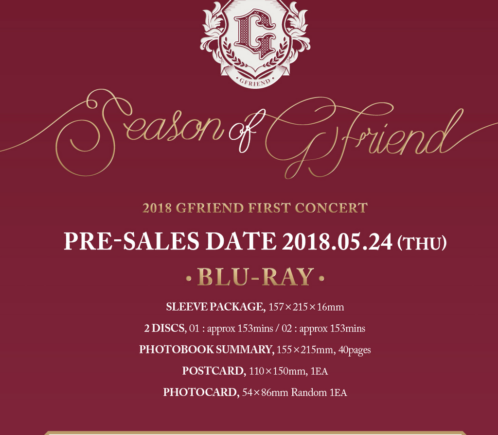 여자친구 GFRIEND Blu-ray 2018 FIRST CONCERT [SEASON OF GFRIEND]