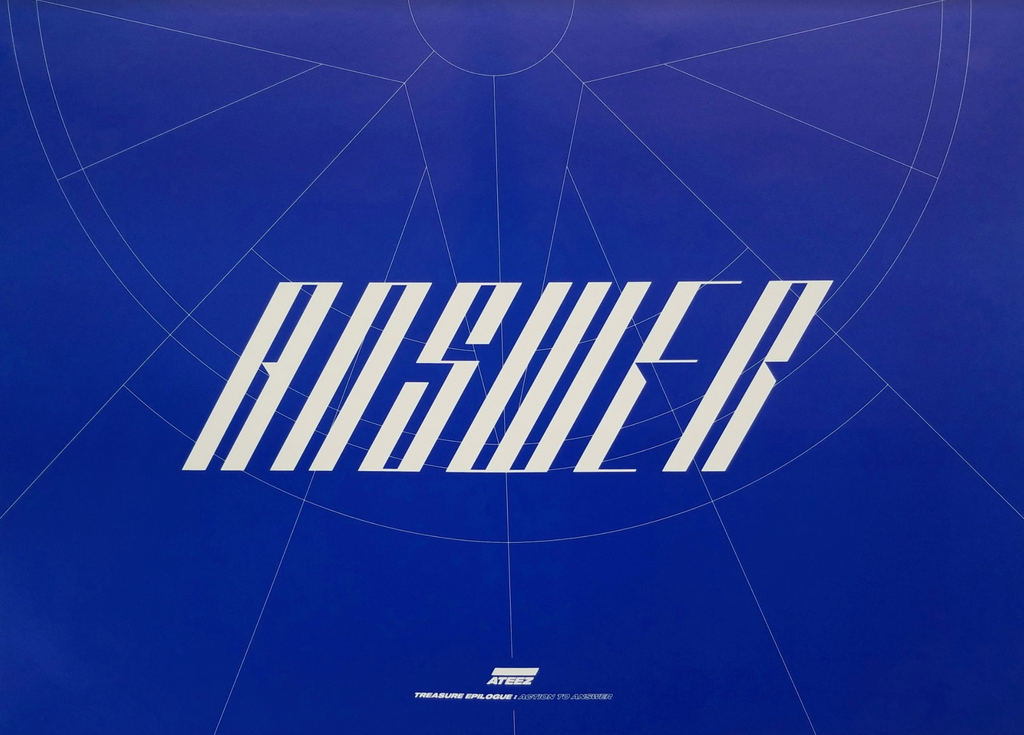 ATEEZ 4TH MINI ALBUM - TREASURE EPILOGUE : ACTION TO ANSWER Official Double Sided Poster - Photo Concept Z (Blue Version)