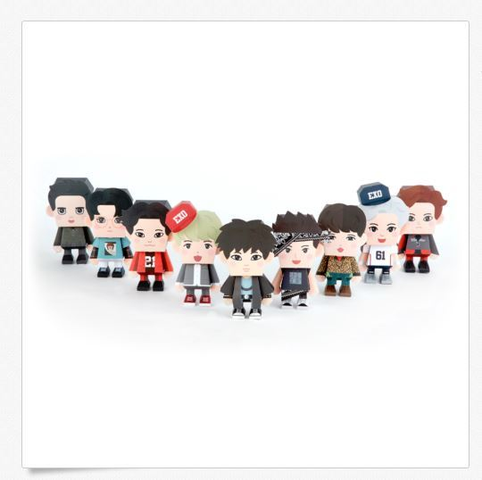EXO Paper Toy 5TH Anniversary Package Photocard Sticker Official 9 Members Set