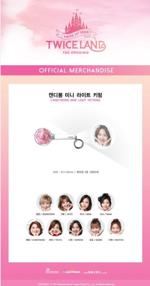[PRE-ORDER] 트와이스TWICE 1ST TOUR 'TWICELAND -THE OPENING-' GOODS : CANDY BONG MINI LIGHT KEY RING
