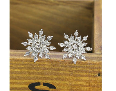 Sliver Snowflake Stud Earrings