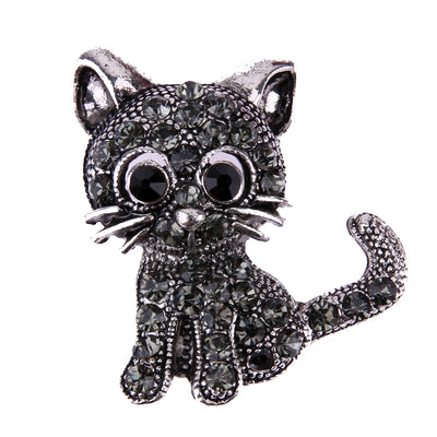 Vintage Black Crystal Cute Cat Brooch Pins