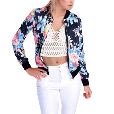 Flower Zipper Up Bomber Basic Jackets